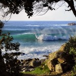 Empty waves and rugged landscapes
