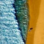 surfer at shoreline