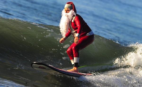 Santa surf stylin