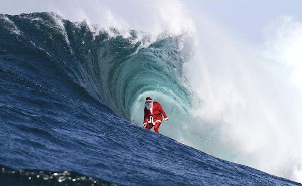 santa surfs