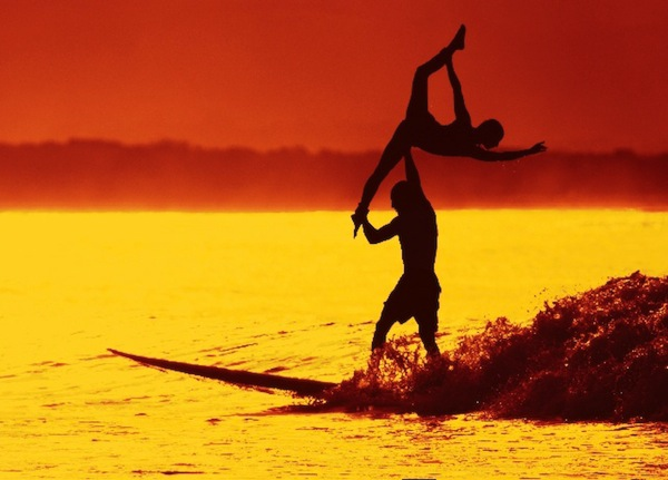sunset surfing tandem byron bay