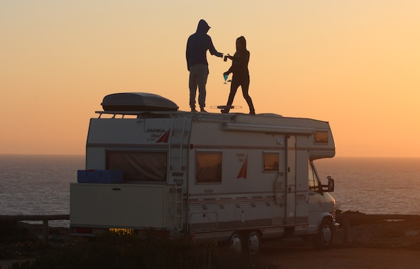 motorhome surf tour sunset