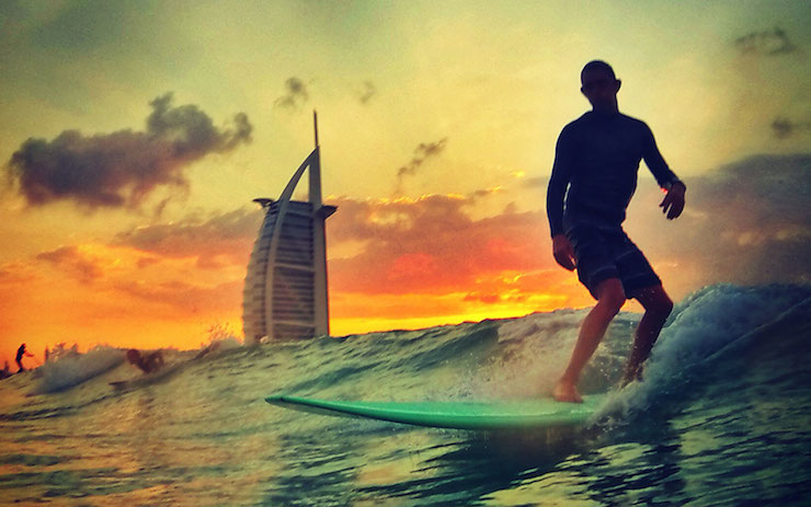 surfing dubai sunset