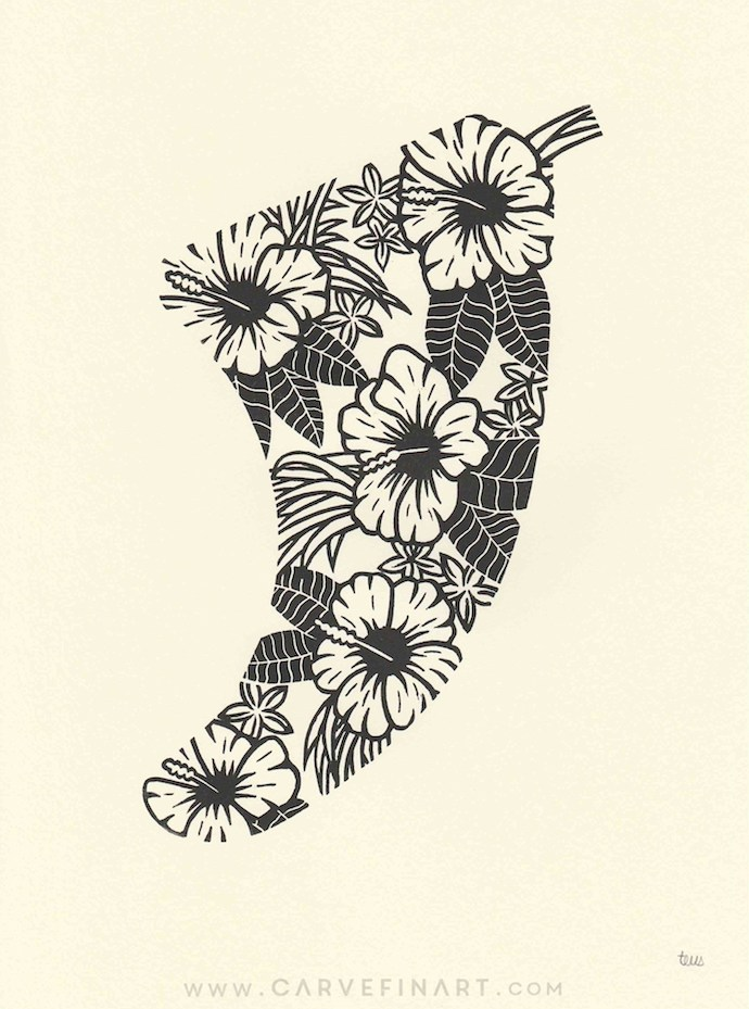 Hibiscus Flowers Fin - Carve Fin Art-LinocutSurfFinArt