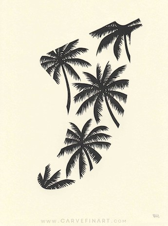 Palm Tree Fin - Carve Fin Art-LinocutSurfFinArt
