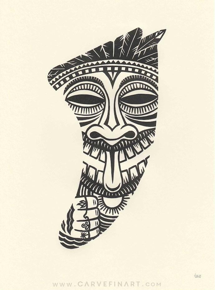 Tiki Idol Fin - Carve Fin Art -LinocutSurfFinArt