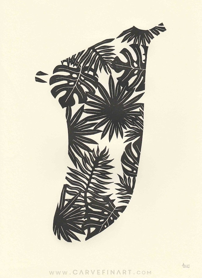 Tropical Leaves Fin - Carve Fin Art-LinocutSurfFinArt