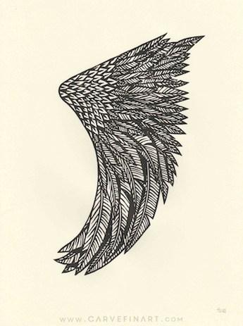 Wing Fin - Carve Fin Art-LinocutSurfFinArt