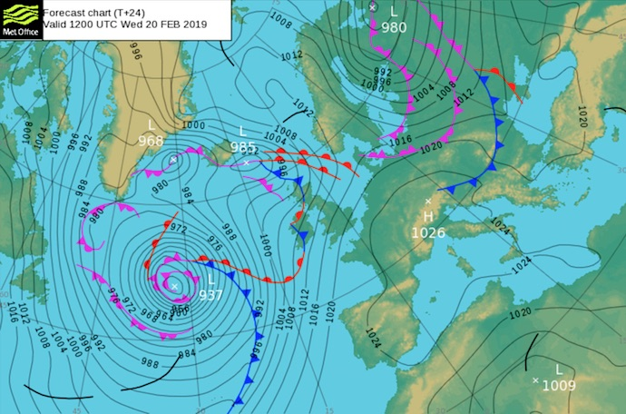 Met Office surface pressure chart