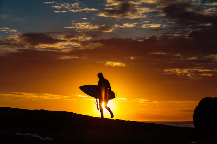 sunset surfer east coast england